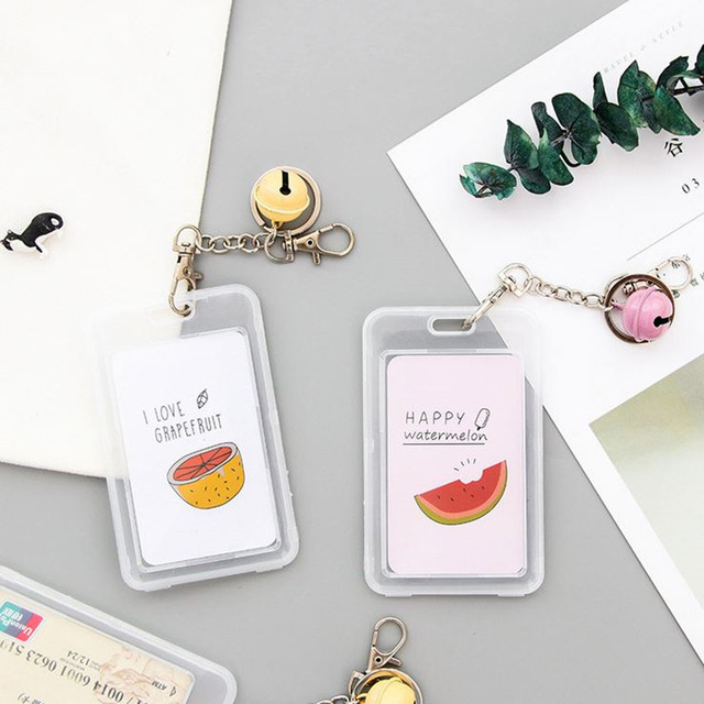 Coloffice 1PC Kawaii Cartoon Card Holder With Bells Note ID Credit Bus/Meal Card Storage Stationery Keychain School Office