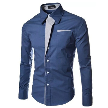 Dropping Casual Shirt Men Solid Slim Fit Turn-down Collar Shirts Patchwork Single Breasted Male Shirt 1