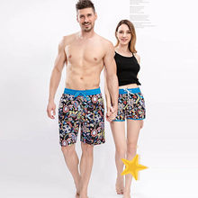 One Piece Summer Couple Beach Shorts Fashion Print Elastic Waist Board Shorts Men And Women Breathable Quick Dry Men Women Short(China)