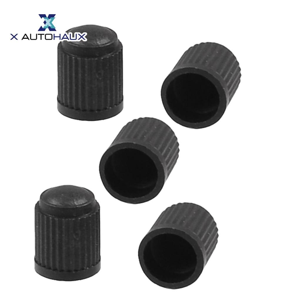 X AUTOHAUX 5PCS Black Plastic Cylinder Design Tire Tyre Valve Caps For Car Valve Stems Caps Auto Replacement Parts ACCESSORIES