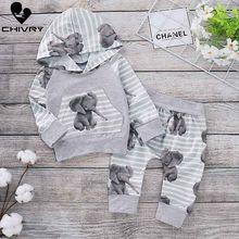 Chivry Newborn Baby Boy Hooded Elephant Print Sweatshirt Coat Tops Pants Tracksuit Trousers Outfits Infant Boys Cloth Sets