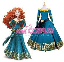 Hot Sale Childhood Memory Custom made Brave Merida New Version Sparkles Cosplay Dress Costume