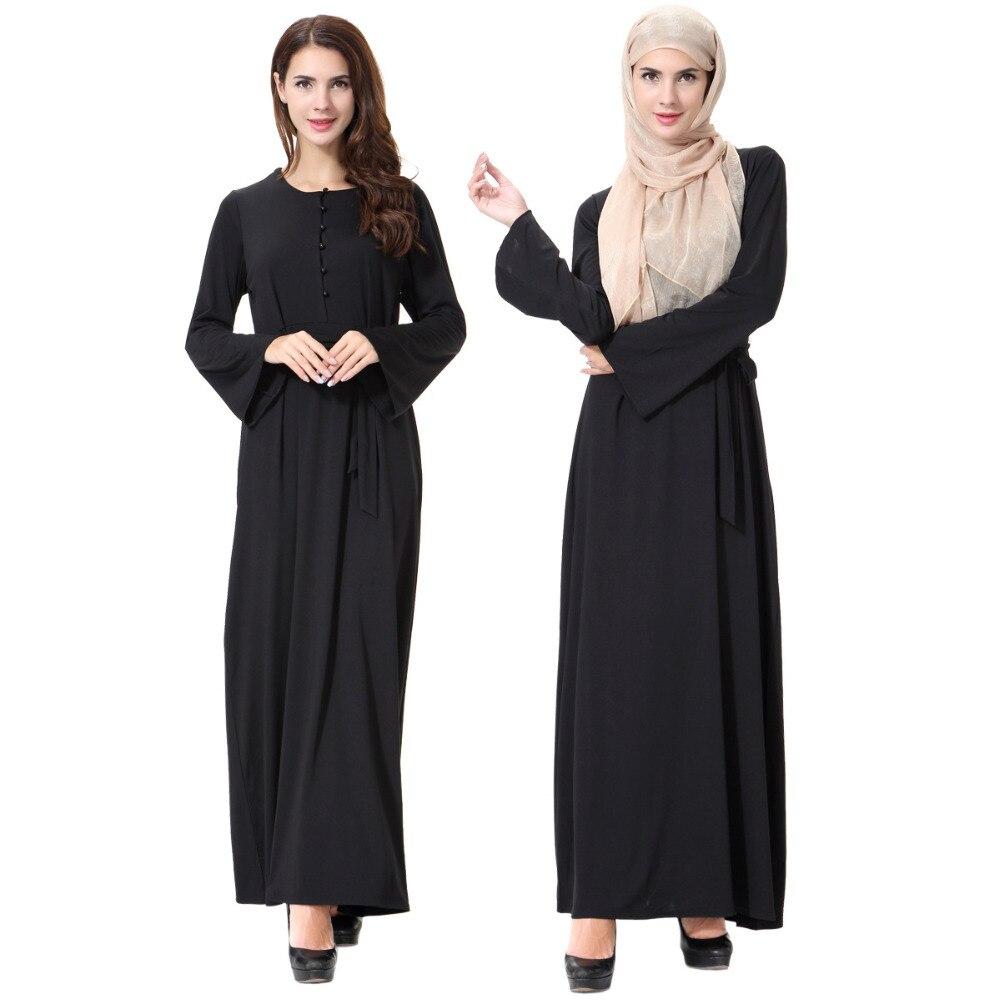 Fashion Women Muslim Dress O Neck Long Sleeve Patchwork Ropa Arabe Mujer Turkish Dubai Abaya Black Islamic Hijab Dress CN-066