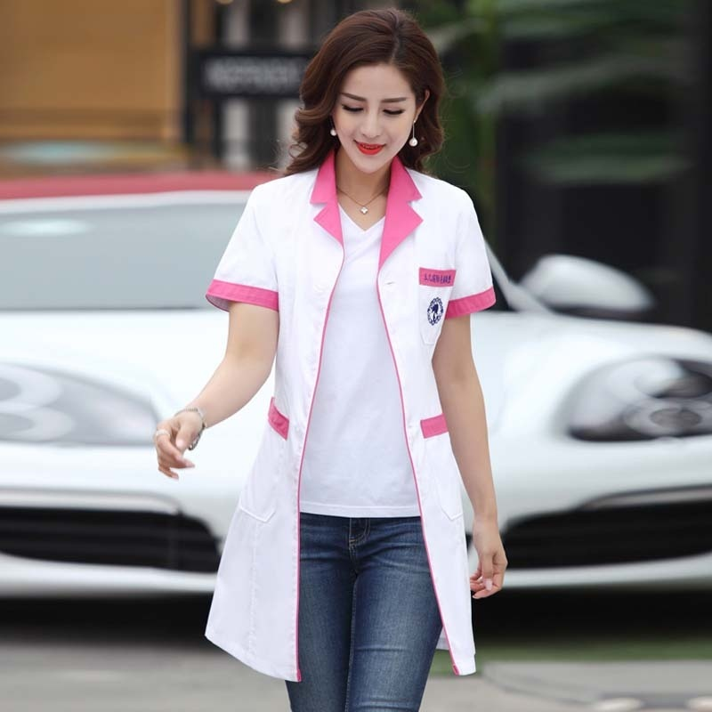 Uniforme Enfermera Women's Lab Coat Fashion Color Blocking Korean Style Medical Jacket Nurse Uniforms  With Adjustable Waist