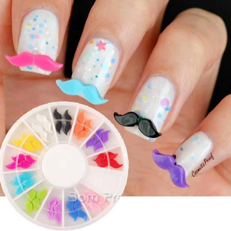 Top Nail 12 Color Moustache Glitter Wheel Nails Resin Beard Manicure ...