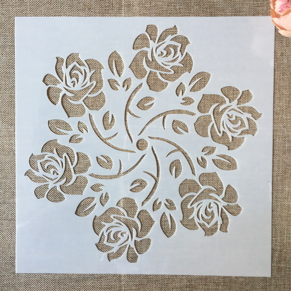 1Pcs 30*30cm Big Rose Flower Hex Mandala DIY Layering Stencils Painting Scrapbook Coloring Embossing Album Decorative Template