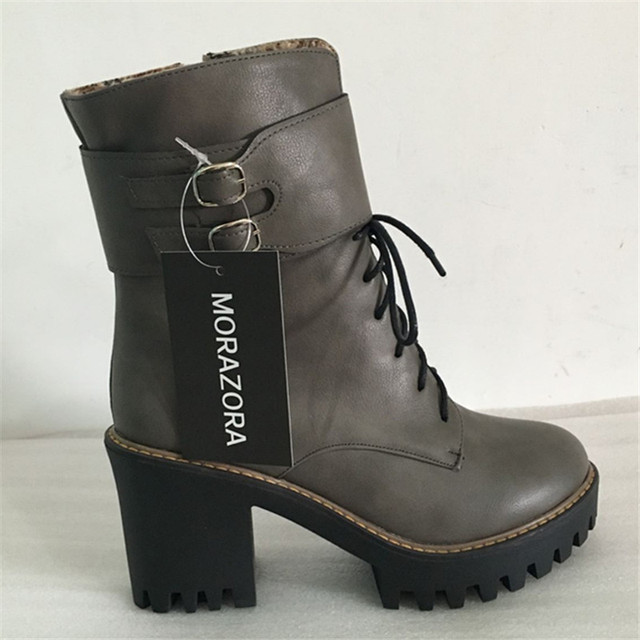 MORAZORA Fashion boots 2017 spring autumn buckle ladies shoes high heels boots round toe platform lace up ankle boots for woman