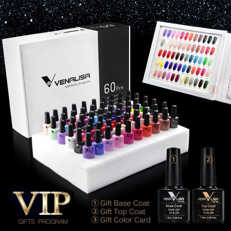 #61508 Venalisa 60 цветов цветной гель набор, в том числе база/Топ гель Professional Nail Art Гель красивый долговечный Гель-лак