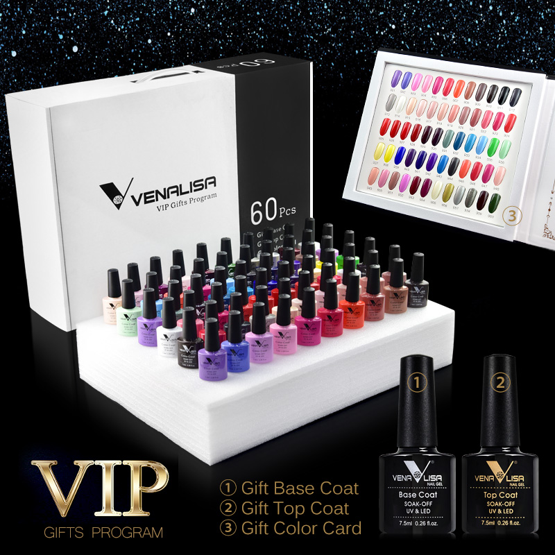 61508 Venalisa 60 Colors Color Gel A Set Including Base Top Gel Professional Nail Art
