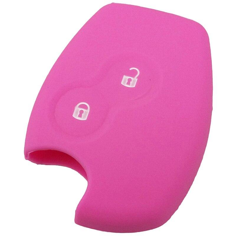 2 кнопки силиконовой ключ чехол дистанционного ключа оболочка для Renault Clio Duster Twingo, розовый