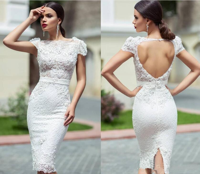 Backless 2019 Cocktail Dresses Sheath Cap Sleeves Lace Beaded Knee Length Elegant Party Homecoming Dresses