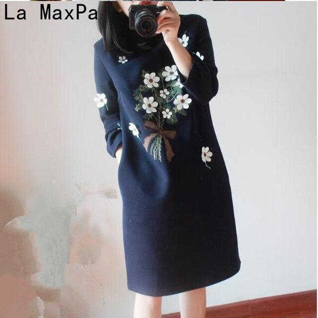 da7643f416 2018 las nuevas mujeres de otoño e invierno Vestido de manga larga de gran  tamaño ropa