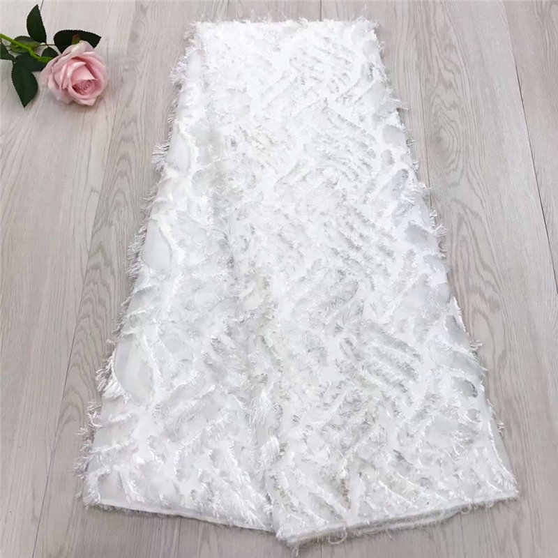 White Wedding African lace fabrics Wholesale Cheap bridal chiffon net lace for wedding 3d Long hair french lace fabrics F4-1691