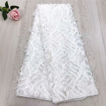 White Wedding African lace fabrics Wholesale Cheap bridal chiffon net for wedding 3d Long hair french F4-1691
