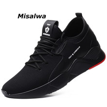 Misalwa New Shoes Men Casual 2019 Breathable Flyknit Height Increasing 5-7 CM Sneakers For Lace-up Popular Elevator