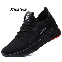 Misalwa New Shoes Men Casual 2019 Breathable Flyknit Height Increasing 5 7 CM Sneakers For Men Lace up Popular Elevator Shoes