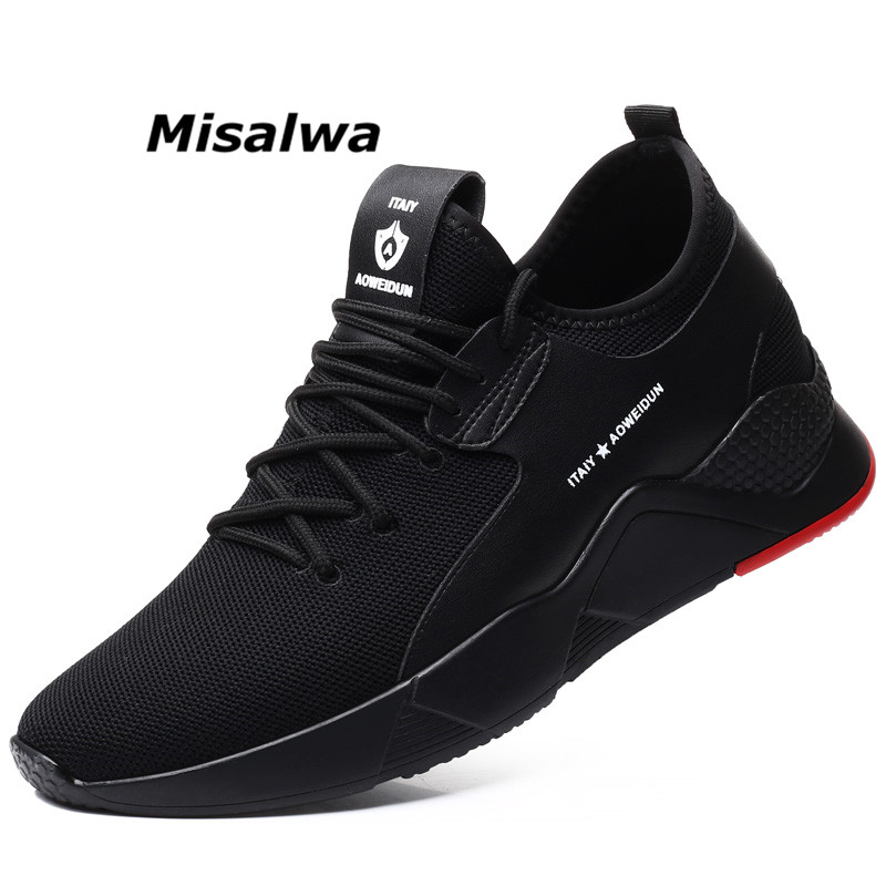 Misalwa nouvelles chaussures décontracté 2019 respirant Flyknit hauteur augmentant 5-7 CM baskets pour hommes à lacets chaussures d'ascenseur populaires