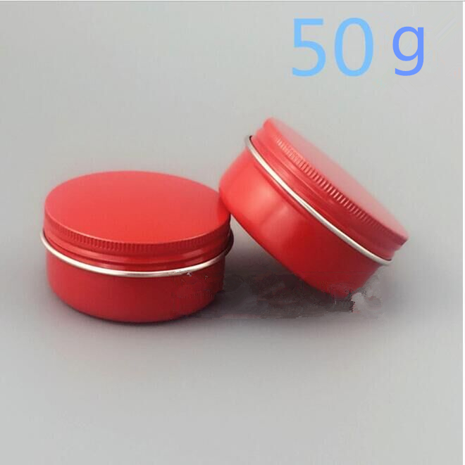 Free Shipping 50g Red Aluminum Metal Jar Wholesale Retail Originales Cosmetic Cream Sample Empty Packaging Containers