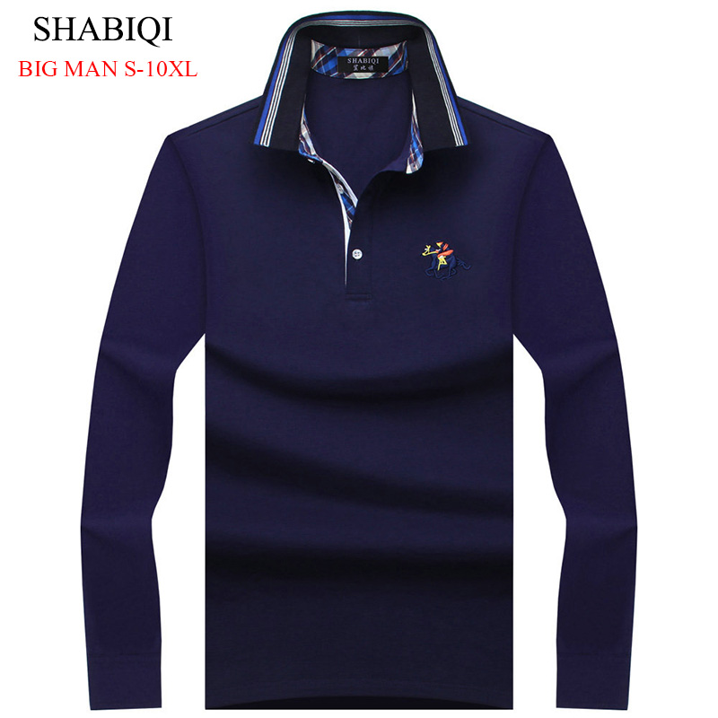 2019 New Fashion Mens Polo Shirts Long Sleeve Spring slim Fit Men's Shirt Brands Camisa Polo Masculina Plus Size7XL 8XL 9XL 10XL