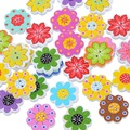50PCs Wholesale Natural Wooden Buttons Colorful Mixed Flowers Wave Edge Scrapbook Sewing Accessories DIY Craft 2 Holes 20x19mm
