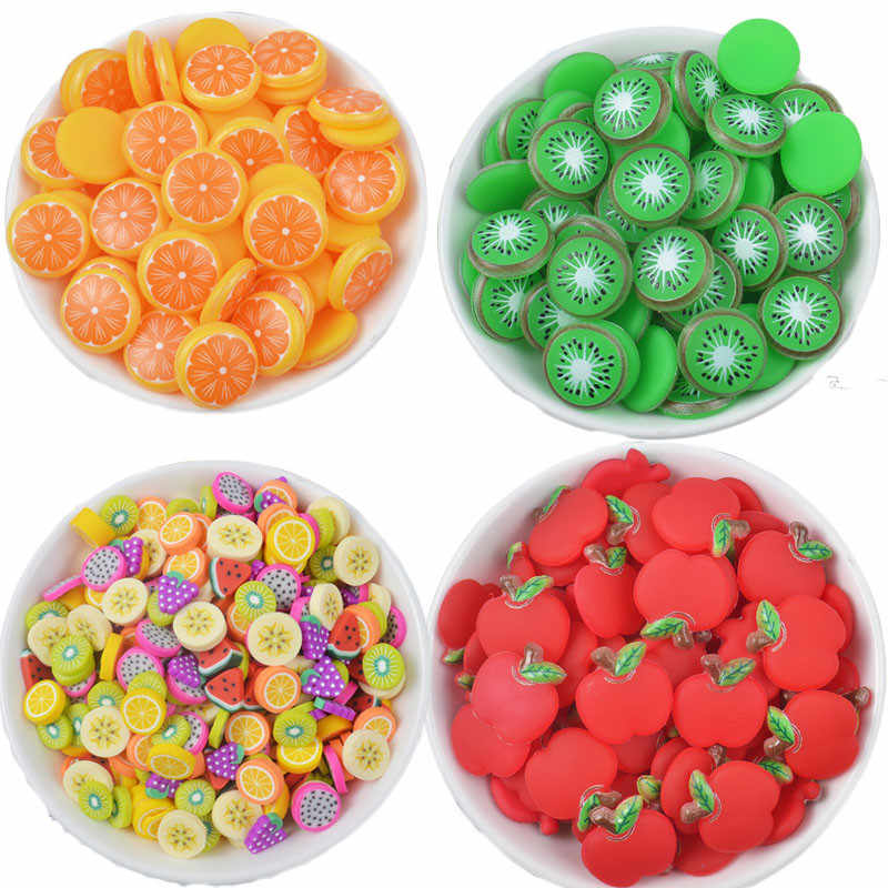 20pcs Fruit Slices Filler For Clay Slime Fruit For Kids Diy Slime Accessories Supplies Decoration Soft Pottery