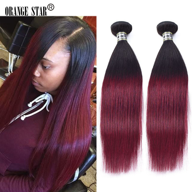 1b Burgundy Two Tone Ombre Indian Hair Extensions 4 Bundles Dark