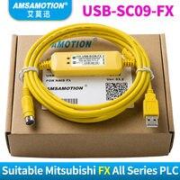 USB-SC09-FX для Mitsubishi PLC Кабель для программирования, совместимый FX-USB-AW с защитой FX2N/FX1N/FX0/FX0N/FX0S/FX1S/FX3U