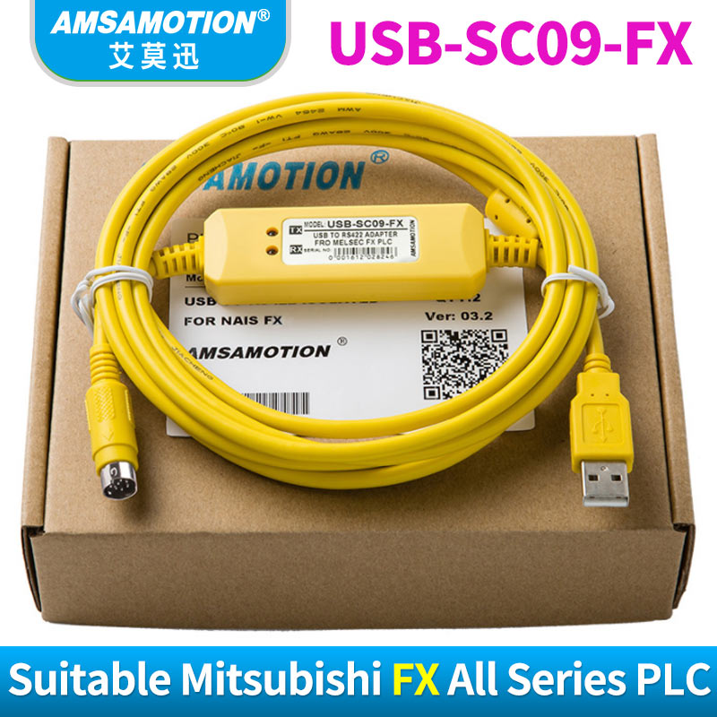 USB-SC09-FX PLC Industry Grade Cable Suitable Mitsubishi FX Series PLC Compatible FX-USB-AW Immunity FX2N/FX1N/FX0/FX0N/FX0S/FX1