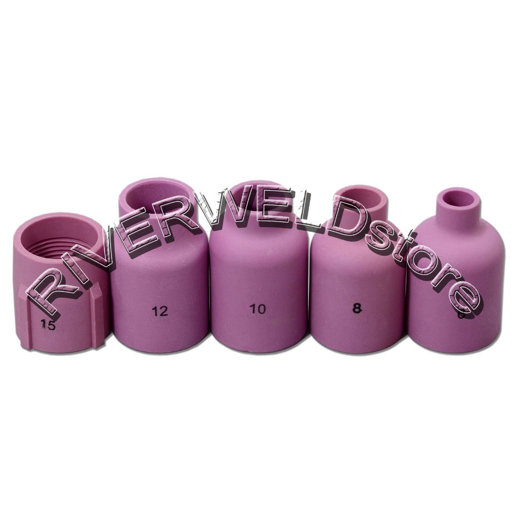 TIG KIT Large Diameter Gas Lens Alumina Nozzle 57N75 57N74 53N87 53N88 53N89 FIT TIG Welding Torch WP 17 18 26 Series, 5PK