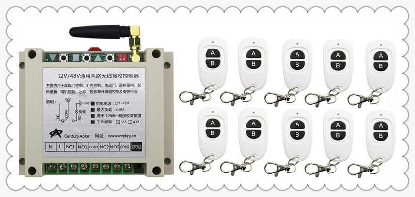 New DC12V 24V 36V 48V 10A 2CH RF Wireless Switch Relay Receiver Remote Controllers & 10* White AB keys Waterproof Transmitter