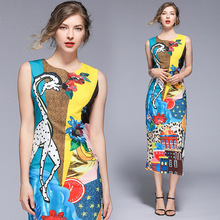 Sexy sleeveless pencil dress New 2019 summer runways cartoon print A044