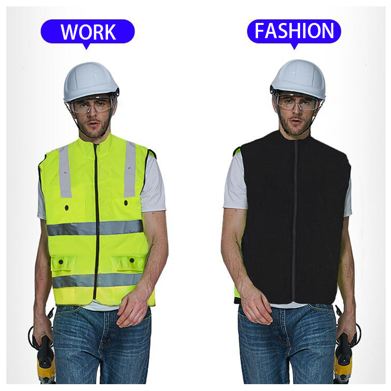 SFVEST Reversible reflective warm jacket vest Oxford and polar fleece fabric safety waistcoat fluorescent yellowSFVEST Reversible reflective warm jacket vest Oxford and polar fleece fabric safety waistcoat fluorescent yellow