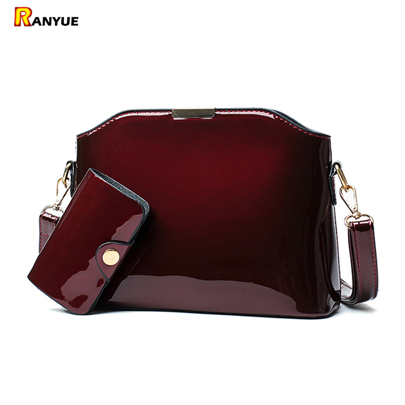 Blue Black Red Sequin Patent Leather Women Handbag Set Shell Bag Vintage Crossbody Women Messenger Bags Small Shoulder Bag Purse