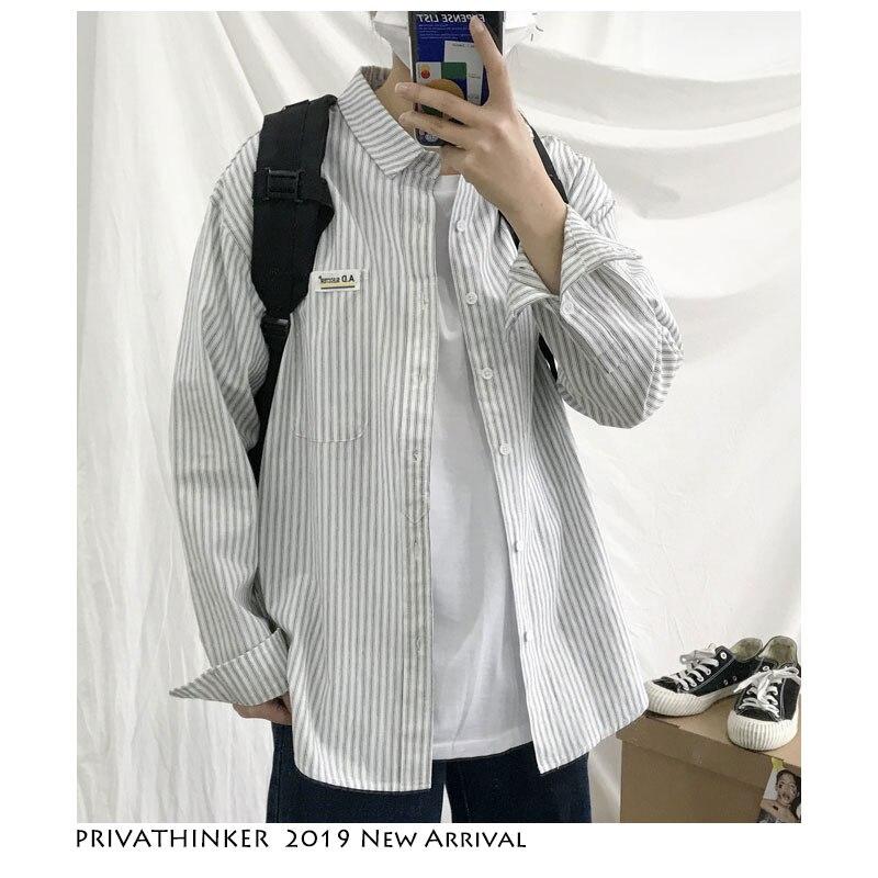 Privathinker Men White Stripd Shirts 2019 Summer Mens Spring Streetwear Casual Loose Shirt Male Harajuku Long Sleeve Shirts XL