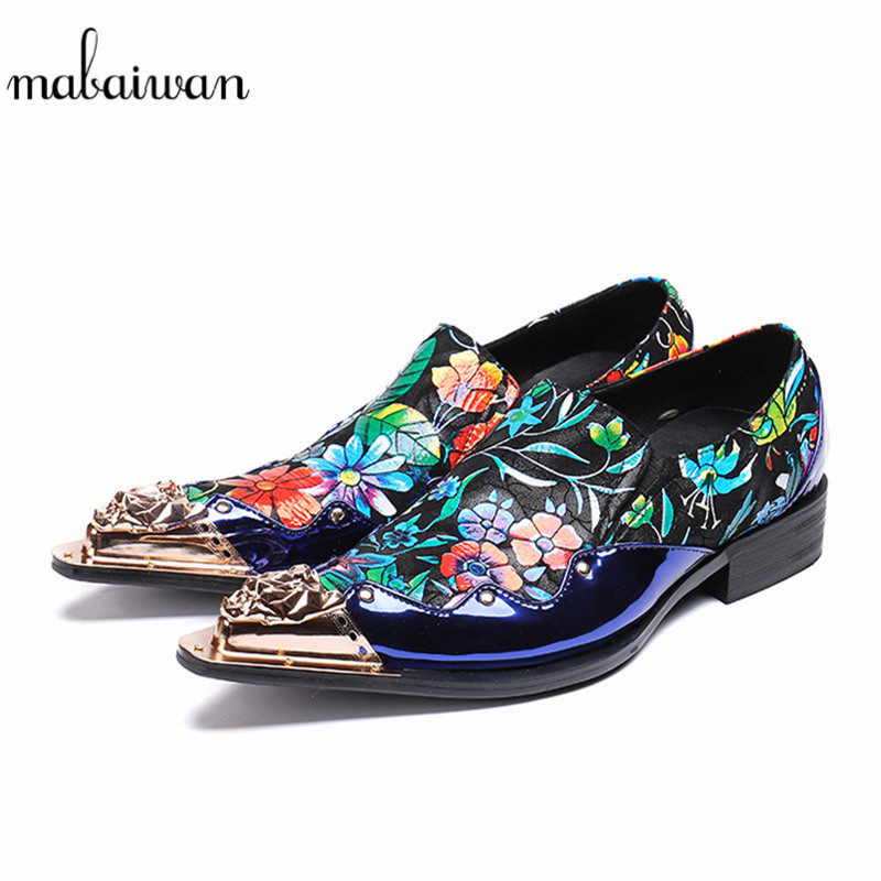 Mabaiwan New Men Indian Formal Slippers Metal Toe Dress Shoes Men's Luxurious Brand Party Slip On Wedding Loafers Footwear Flats new metal toe camouflage men loafers fashion suede wedding dress shoes party banquet italian smoking slippers mens flats slip on