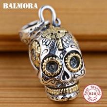 BALMORA 100% Echt 925 Sterling Silber Schmuck Schädel Anhänger Für Halsketten Frauen Männer Zubehör Geschenke Silber Anhänger