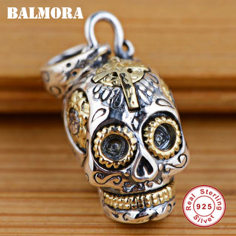 BALMORA 100% Real 925 Sterling Silver Jewelry Skull Pendants For Necklaces Women Men Accessories Gifts Silver Pendant