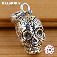BALMORA 100% prawdziwe 925 Sterling Silver biżuteria czaszki wisiorki dla naszyjniki kobiety akcesoria dla mężczyzn prezenty srebrny wisiorek