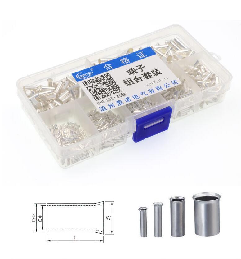 950Pcs Set 7 sizes EN Copper Ferrule Non Insulated Wire Strip Pin ...
