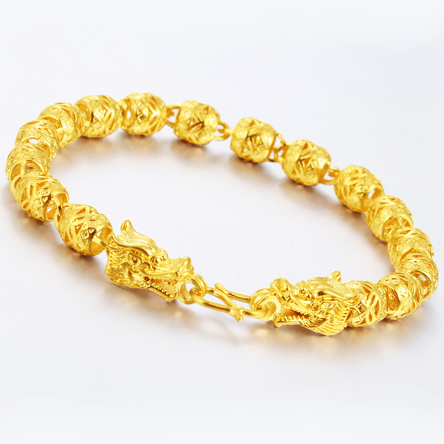 Vietnam Alluvial Gold Jewelry Hollow Beads Dragon Head Bracelet Color Br Whole