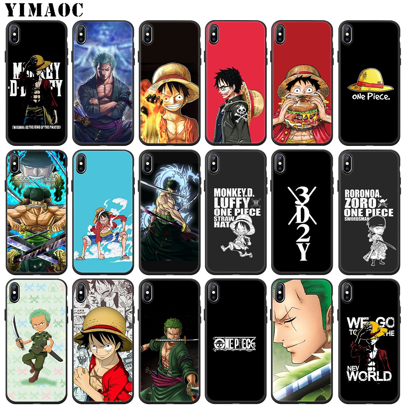YIMAOC ZORO <font><b>One</b></font> Piece Monkey D Luffy Soft Silicone <font><b>Phone</b></font> Case for iPhone 11 Pro XS Max XR X <font><b>6</b></font> 6S 7 8 <font><b>Plus</b></font> 5 5S SE 10 Black <font><b>Cover</b></font> image