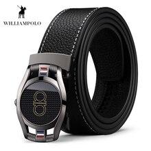 WILLIAMPOLO Genuine Leather Belt Men Fashion Design Jeans Cowhide Black Automatic Buckle Luxury Brand Male Belts #18319P