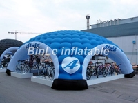 Fashion high quality large inflatable igloo tent for event portable lawn tent with printing 4 entrances