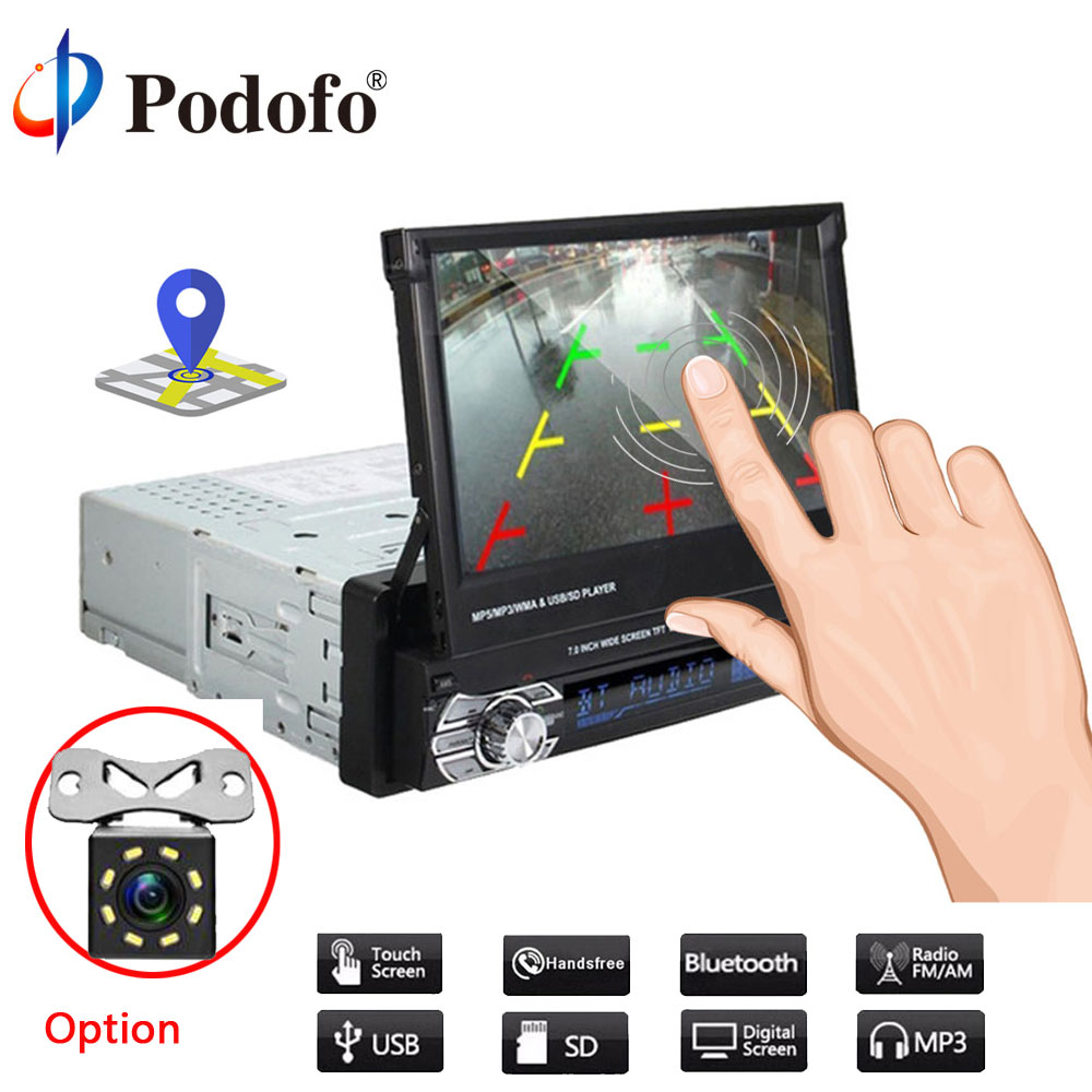 Podofo 1din Autoradio Retractab Autoradio Bluetooth lecteur voiture 7
