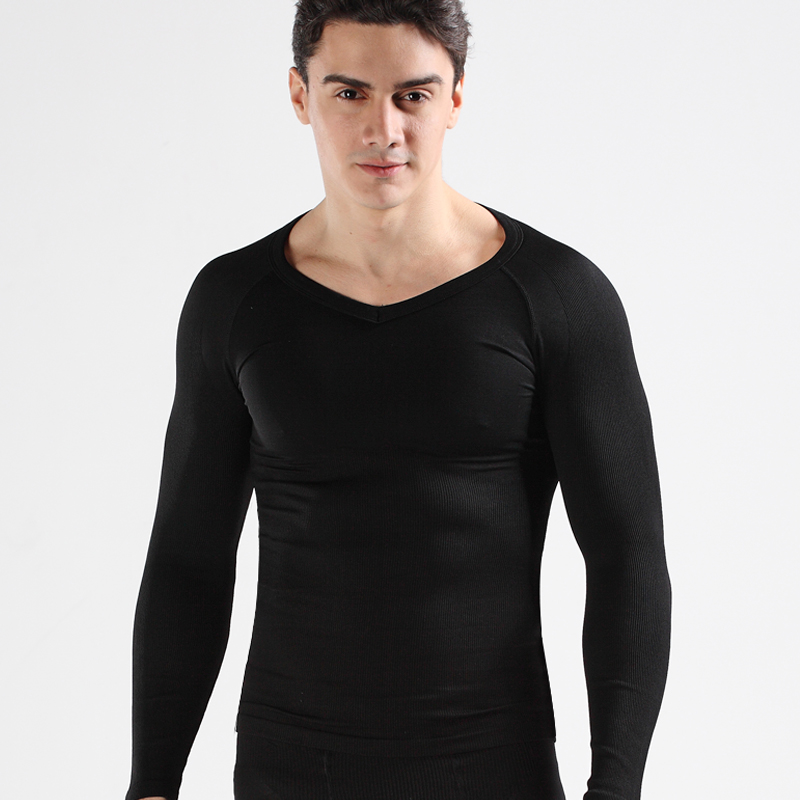 one set Boobs Reduce Waist control corsets tops coolmax lose belly shirts for men long sleeve V neck Tees 2pcs