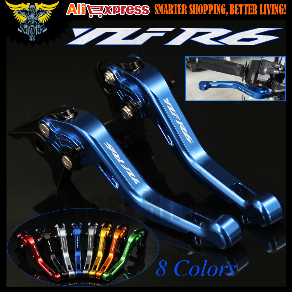 Logo(YZF R6) 8 Colors For Yamaha YZF R6 1999 2000 2001 2002 2003 2004 Blue CNC 2 finger Short Motorcycle Brake Clutch Levers 6 colors cnc adjustable motorcycle brake clutch levers for yamaha yzf r6 yzfr6 1999 2004 2005 2016 2017 logo yzf r6 lever