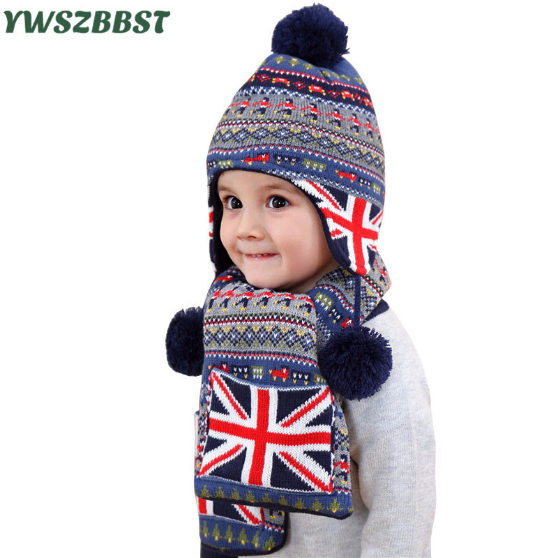 цена на Crochet Baby Hats for Boys Fashion Baby Hat Scarf set Children Winter Hats for Girls Warm Knitted Beanie Cap Scarf