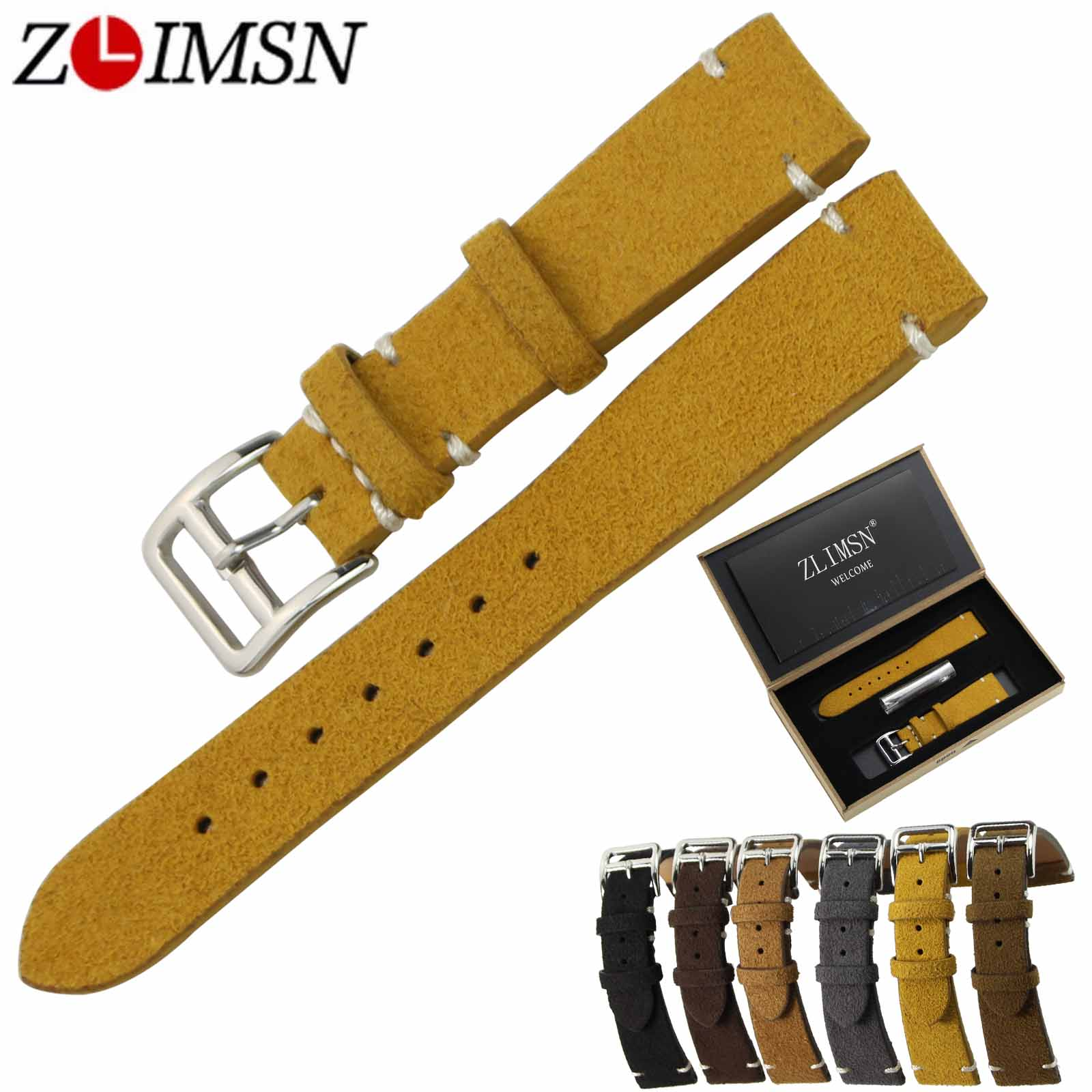 ZLIMSN Genuine Leather Watch Bands Men Female Replacement 20mm Grey Brown Black Watchband Silver Stainless Steel Pin Buckle цена
