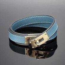 Braccialetti a doppio strato in acciaio inossidabile di marca calda blu giallo rosso verde colore braccialetti in vera pelle di vacchetta per donna (DJ1312)