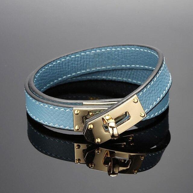 Quente marca de aço inoxidável dupla camada pulseira azul amarelo vermelho verde cor real couro do couro pulseiras para as mulheres (dj1312)
